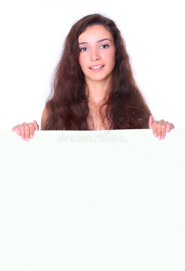 женщина красивейшего удерживания доски пустого белая стоковые изображения rf