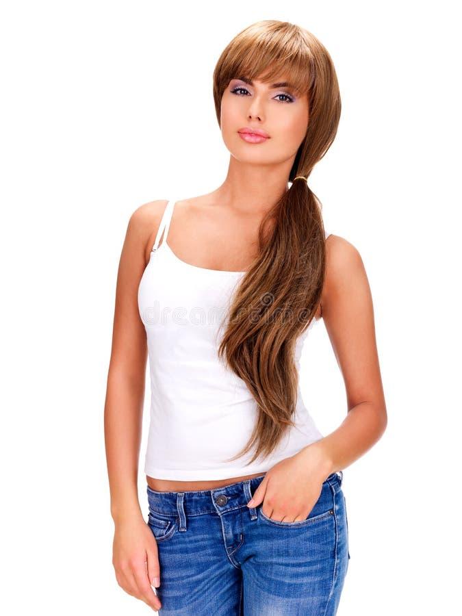 женщина красивейших волос длинняя стоковое фото