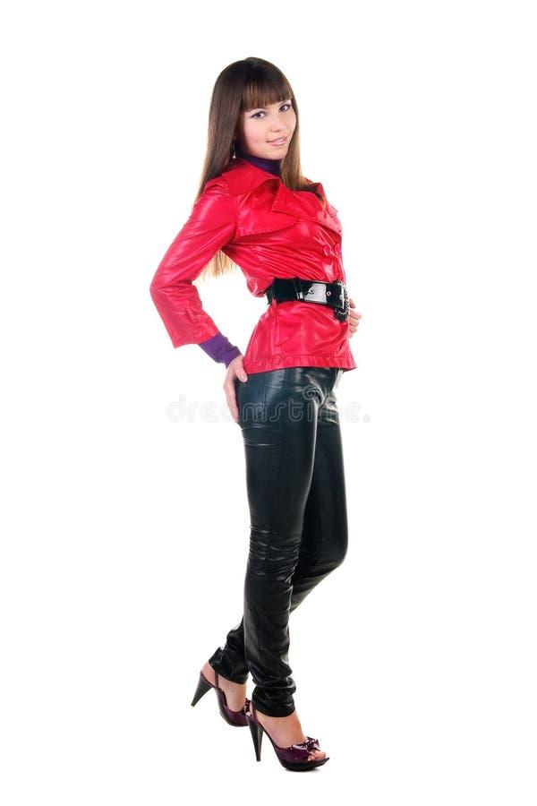женщина красивейших кожаных кальсон сь стоковое фото