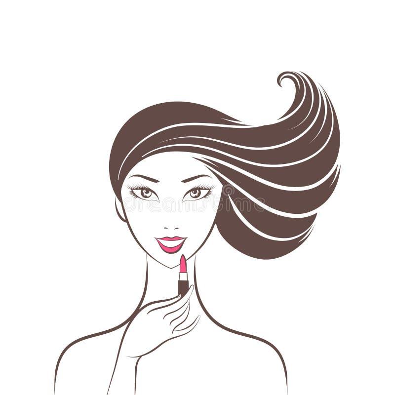 Женщина красит губы иллюстрация вектора