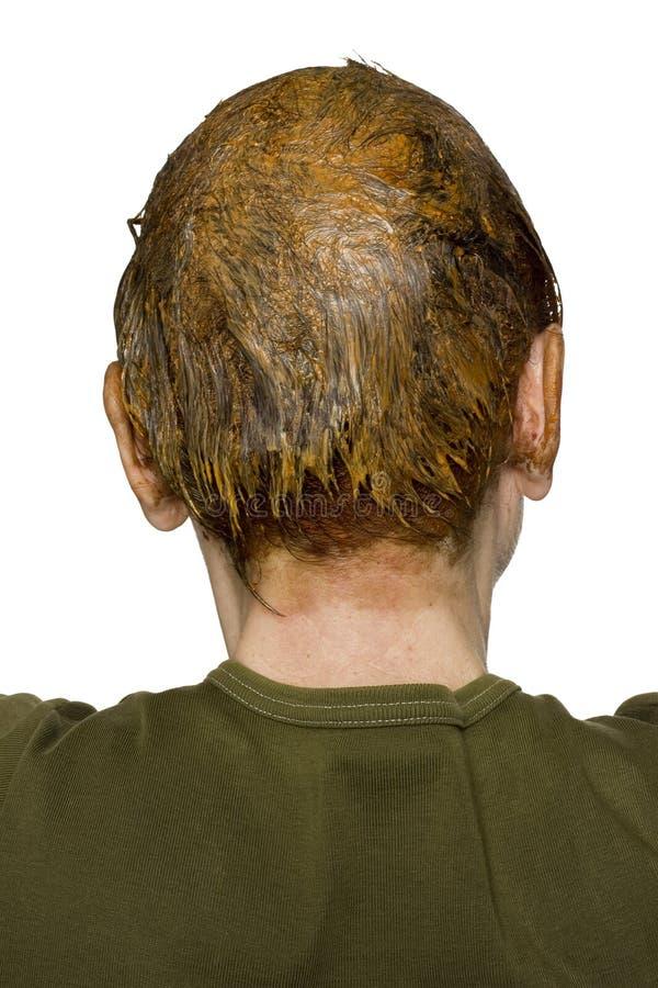 Женщина красит серые волосы стоковое фото rf