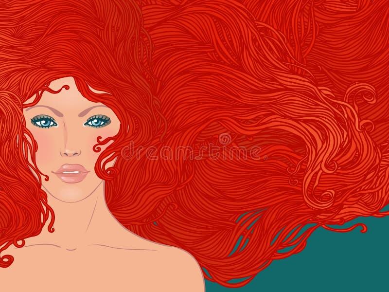 женщина красного цвета волос иллюстрация вектора