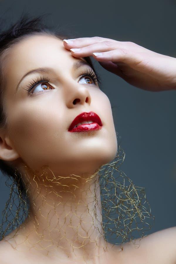 женщина красного цвета губ стоковые фотографии rf