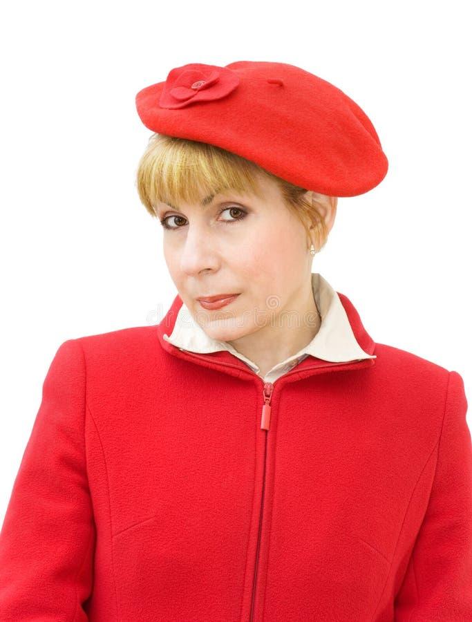 женщина красного цвета портрета стоковая фотография rf