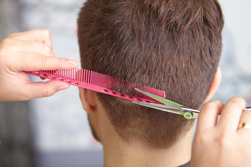 Женщина красоты с длинными здоровыми и сияющими ровными черными волосами Стрижка человека вырезывание стоковые изображения