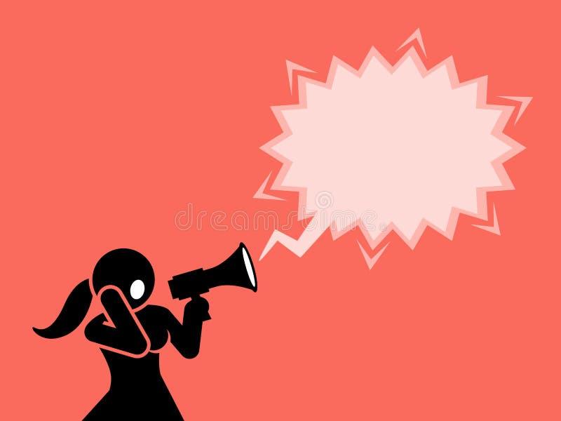 Женщина крича через мегафон или громкоговоритель бесплатная иллюстрация