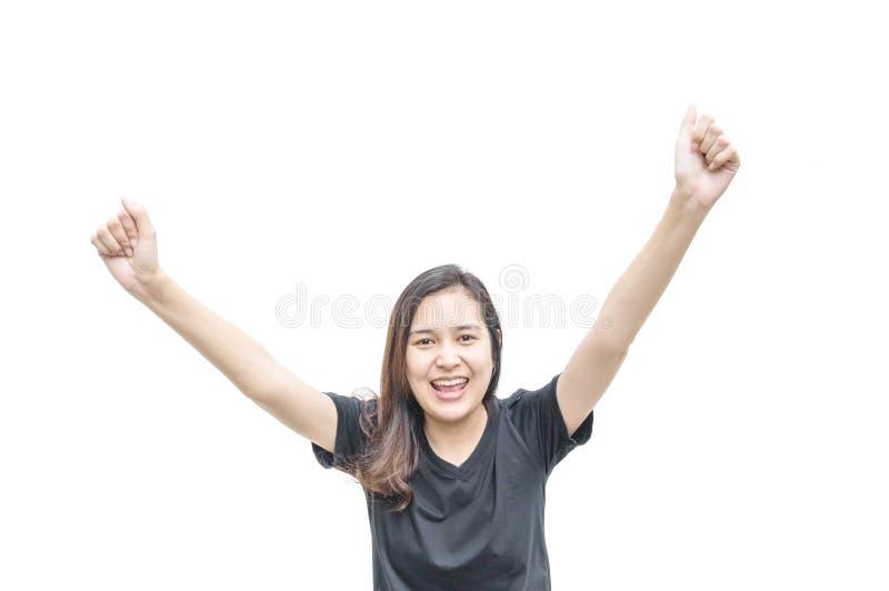 Женщина крупного плана азиатская с счастливым движением позиции изолированная на белой предпосылке стоковые фото