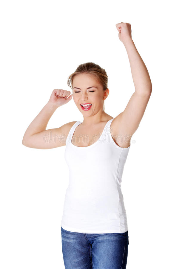 женщина кулачков предназначенная для подростков поднимающая вверх стоковые фото
