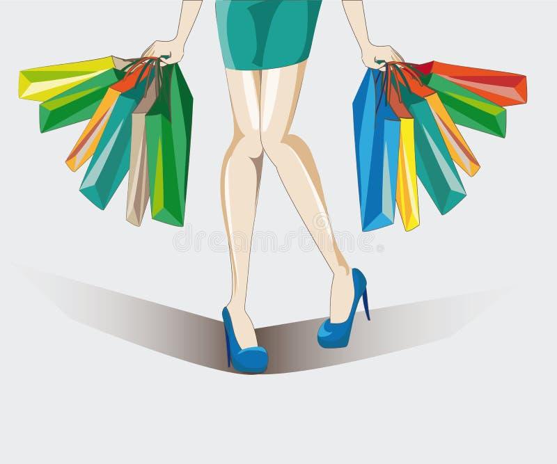 Женщина купая пук новых вещей стоковые изображения