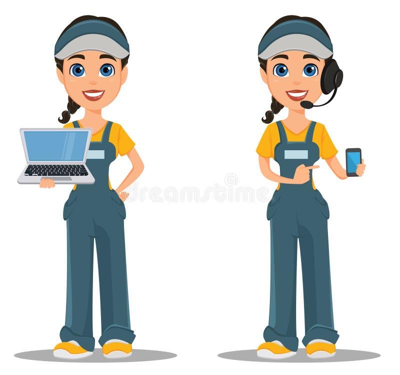 Женщина курьера с шлемофоном признавает заказ, держа smartphone иллюстрация штока