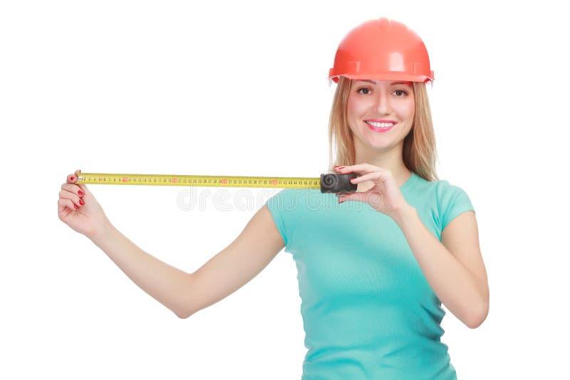 женщина ленты измерения шлема стоковые изображения