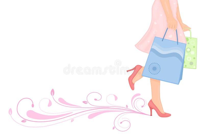 женщина лета весны покупкы иллюстрация штока