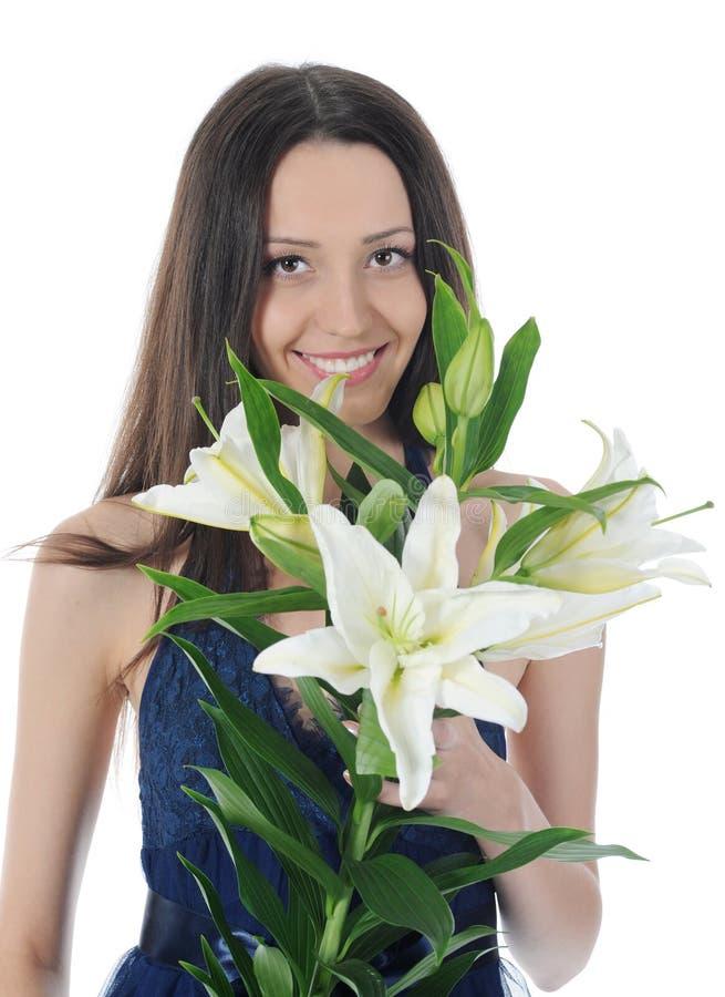 женщина лилии стоковая фотография