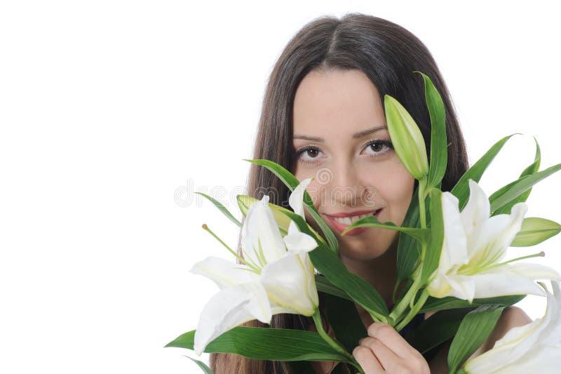 женщина лилии стоковые фотографии rf