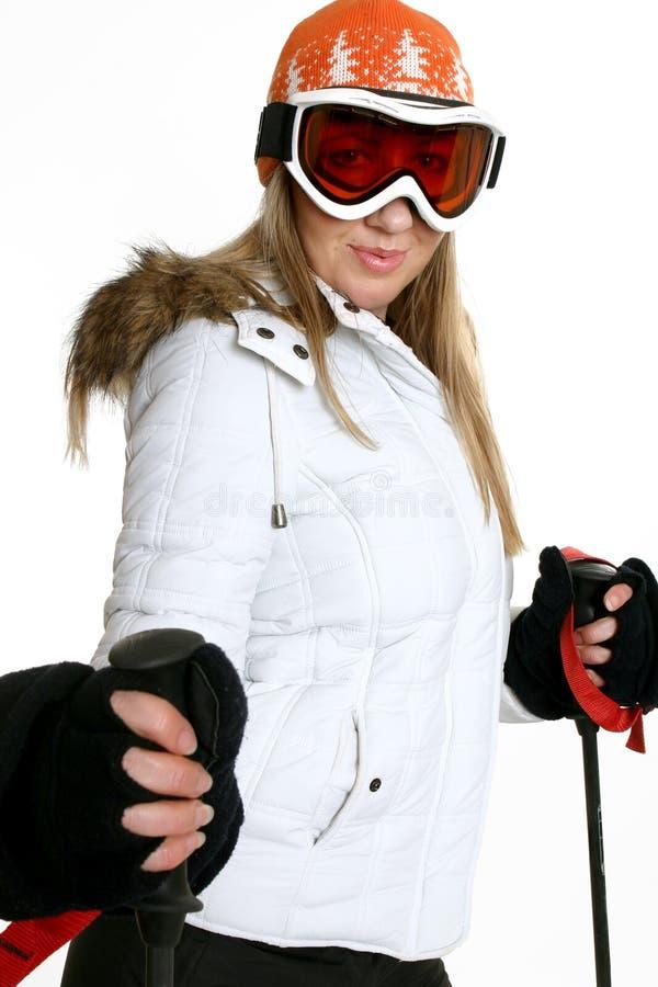 женщина лыжи шлема изумлённых взглядов стоковые фотографии rf