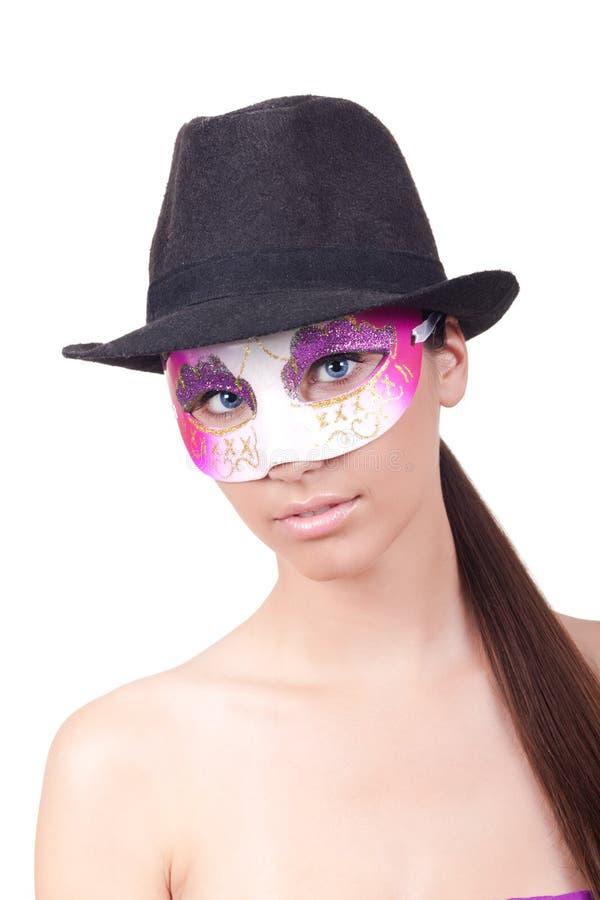 женщина маски загадочная нося стоковое изображение rf