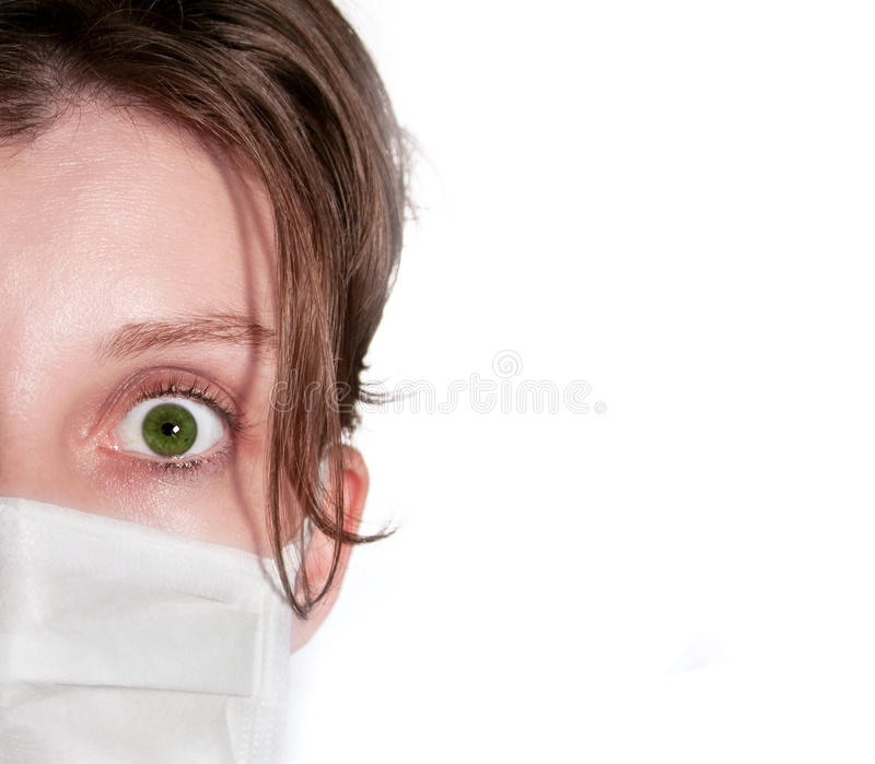 женщина маски медицинская нося стоковые фото