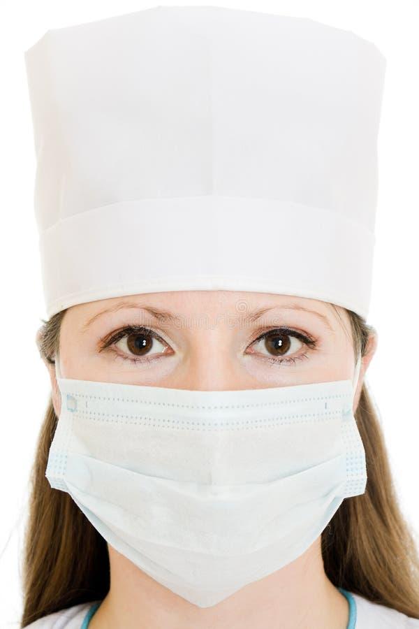 женщина маски шлема доктора нося стоковая фотография rf
