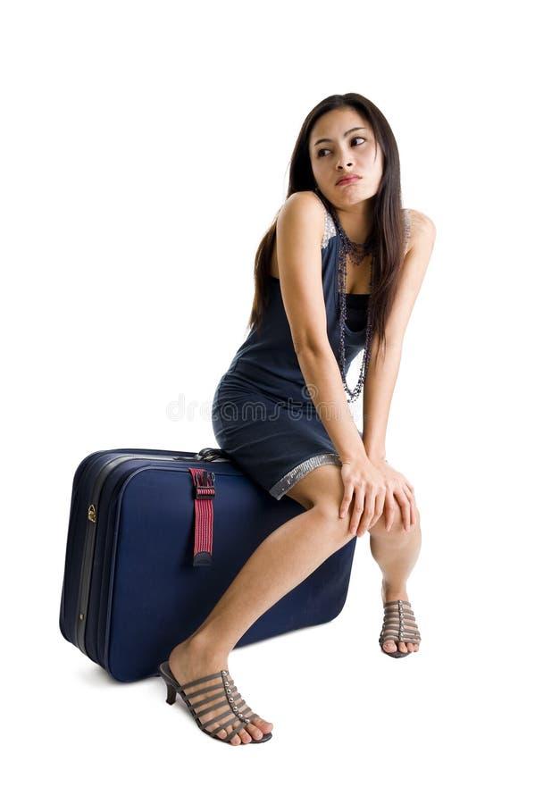 женщина мешка милая сидя стоковые фотографии rf