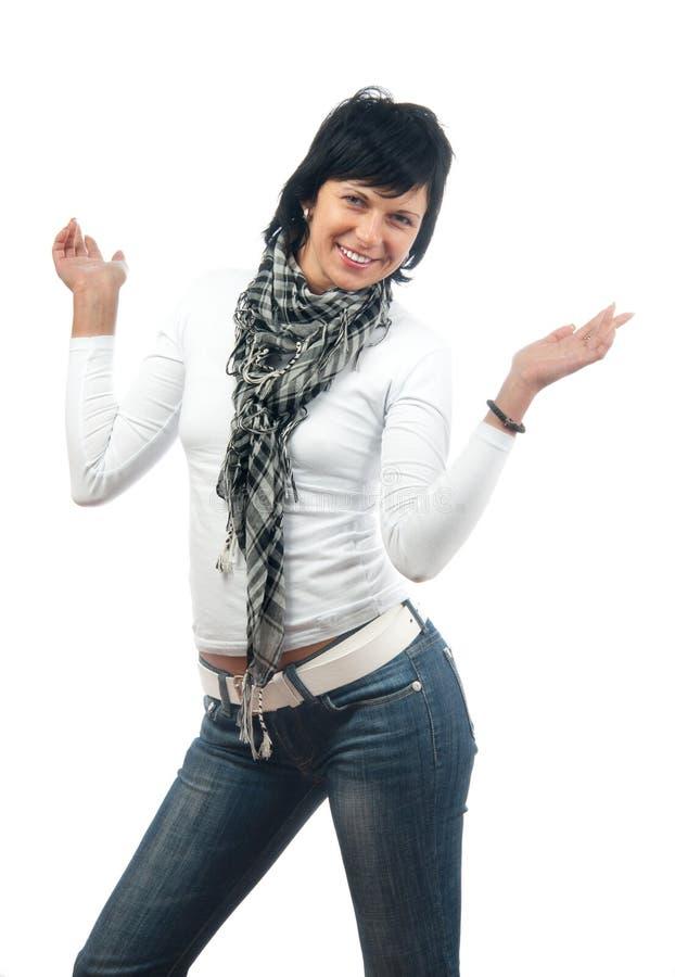 женщина милого шарфа джинсыов кофточки тонкая стоковое фото rf