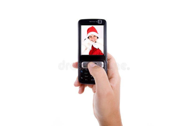 женщина мобильного телефона удерживания стоковая фотография rf