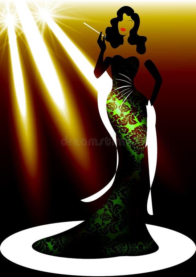 Женщина моды логотипа магазина шаблона, дива силуэта и фара Дизайн фирменного наименования компании, красивая роскошная девушка к иллюстрация штока