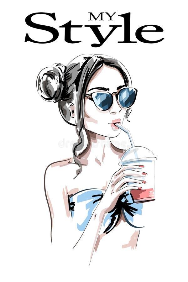 Женщина моды с питьем сока Молодая женщина нарисованная рукой красивая с стильным стилем причёсок girl sunglasses young иллюстрация вектора