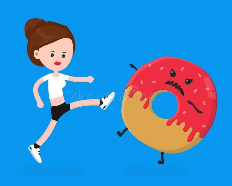 Женщина молодого сердитого фитнеса спорта shapely иллюстрация штока