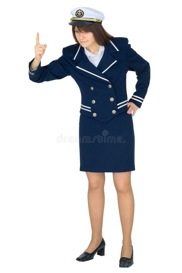женщина моря капитана равномерная белая стоковое фото rf
