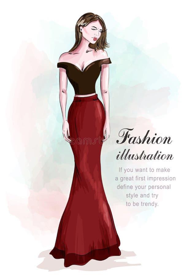 Женщина моды красивая в романтичном платье вечера эскиз Девушка в одеждах моды: красная юбка и черная сексуальная верхняя часть у бесплатная иллюстрация
