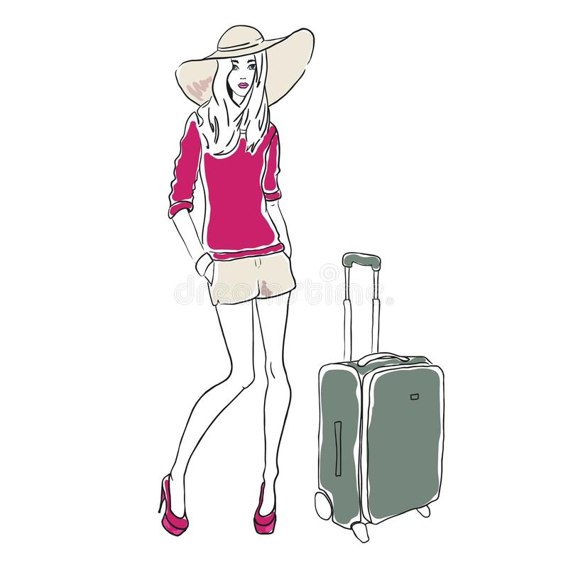 Женщина моды эскиза вектора иллюстрация штока