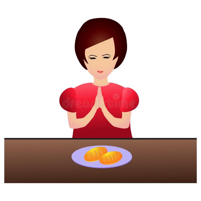 Женщина моля во время обедающего бесплатная иллюстрация