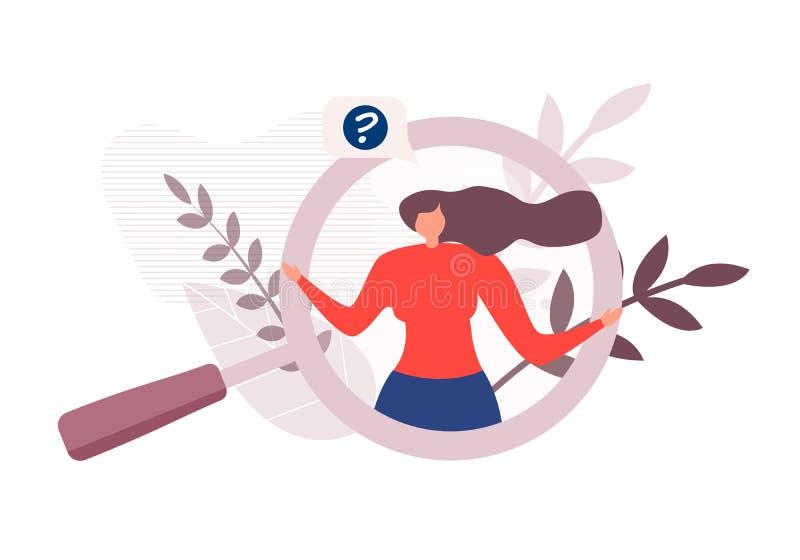 Женщина мультфильма в лупе имеет вопрос иллюстрация вектора