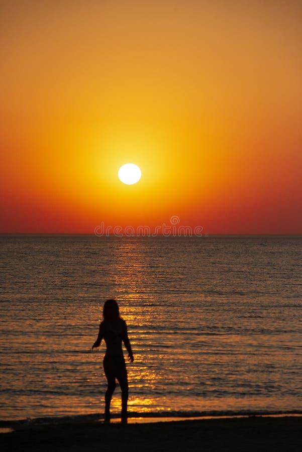 женщина наблюдая заход солнца на пляже r стоковые фотографии rf