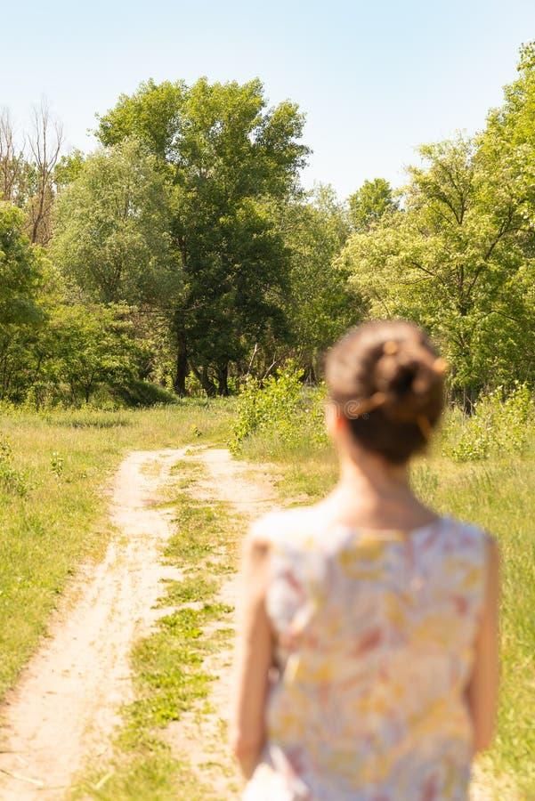 Женщина наблюдая к деревьям стоковые фотографии rf