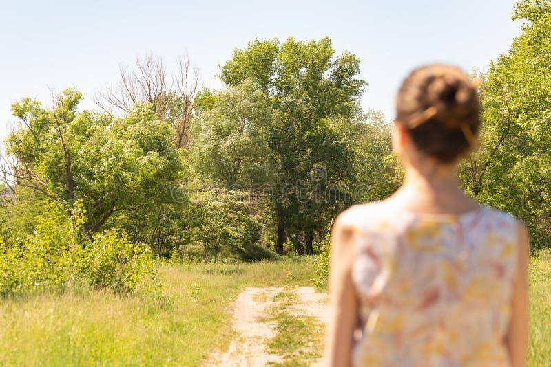 Женщина наблюдая к деревьям стоковые изображения rf