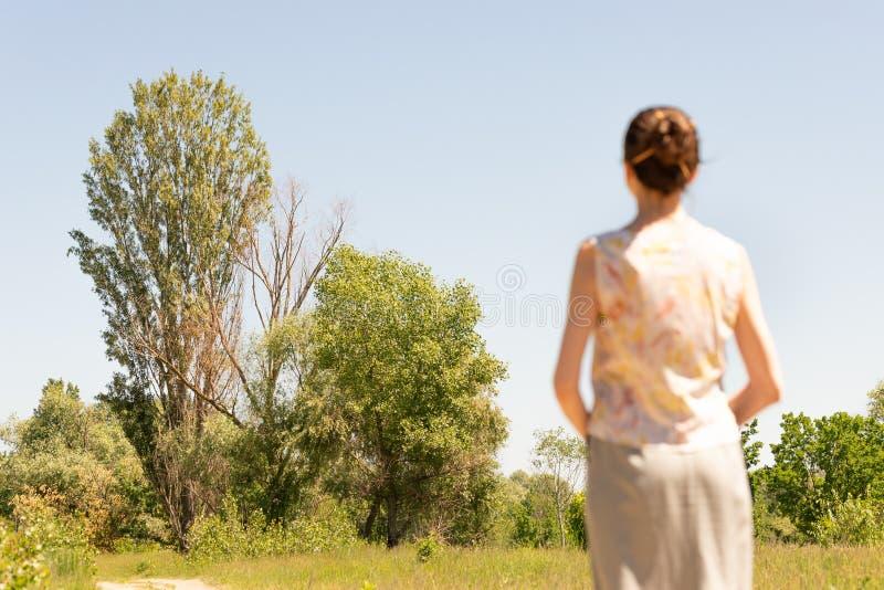 Женщина наблюдая к деревьям стоковое фото