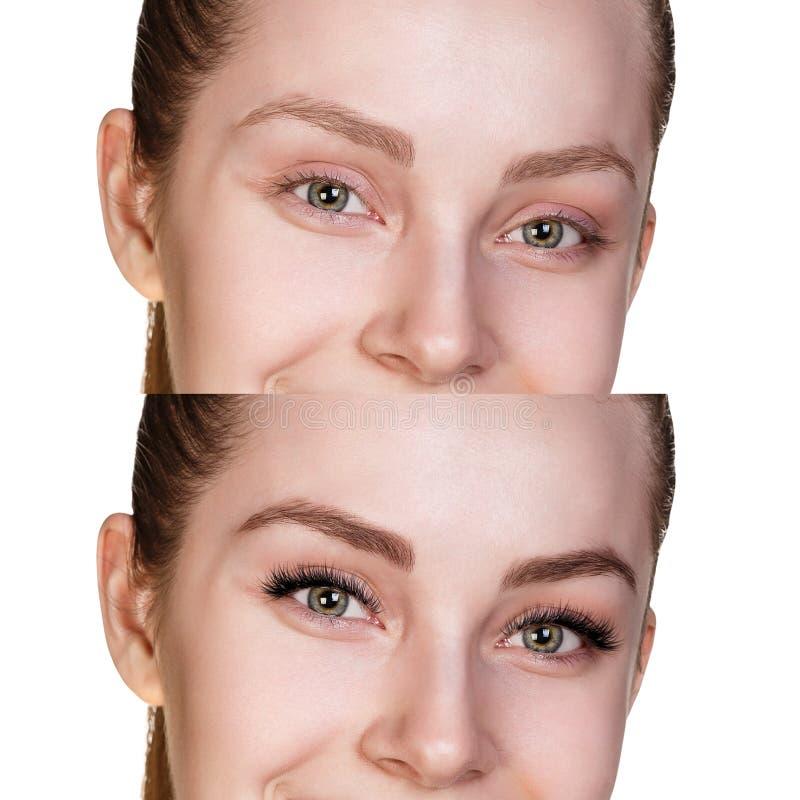 Женщина наблюдает перед и после расширением ресницы стоковые изображения