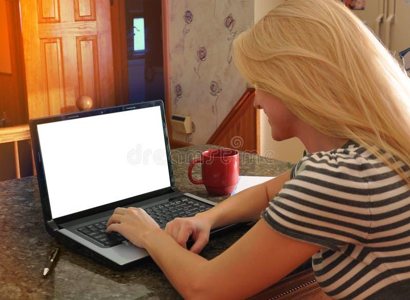 Женщина на компьтер-книжке интернета с пустым экраном стоковые изображения rf