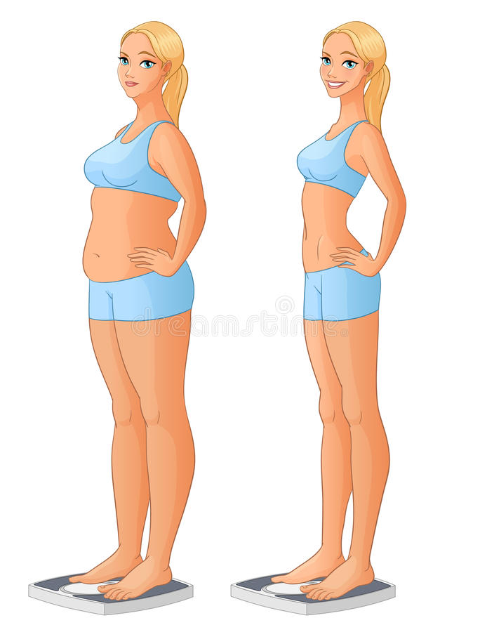 Женщина на масштабе перед и после потерей веса Иллюстрация вектора шаржа изолированная на белой предпосылке иллюстрация вектора