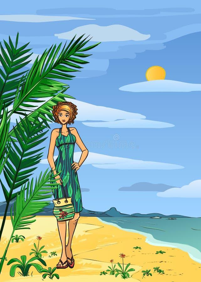 Download Женщина на пляже иллюстрация вектора. иллюстрации насчитывающей шуточно - 40591433