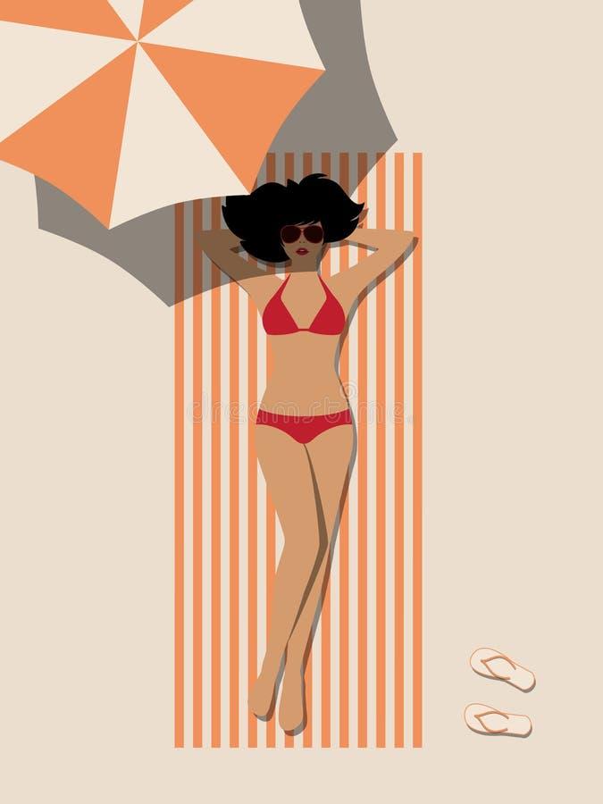 Женщина на пляже иллюстрация вектора
