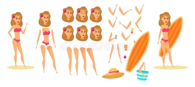 Женщина на пляже иллюстрация штока