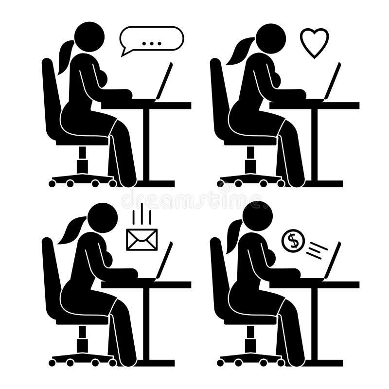 Женщина на столе офиса с ноутбуком бесплатная иллюстрация