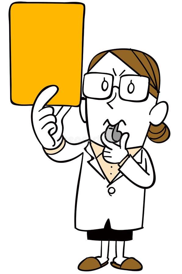 Женщина нося белое пальто показывает желтую карту иллюстрация вектора