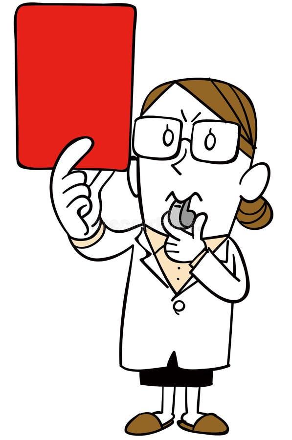 Женщина нося белое пальто показывает красную карту иллюстрация вектора