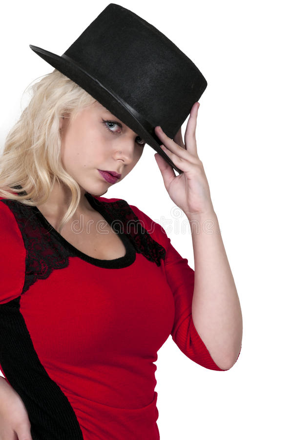 Женщина нося верхний шлем стоковое фото rf