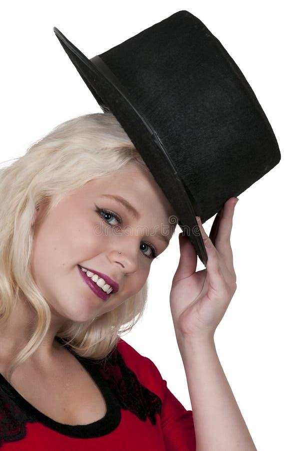 Женщина нося верхний шлем стоковые изображения rf