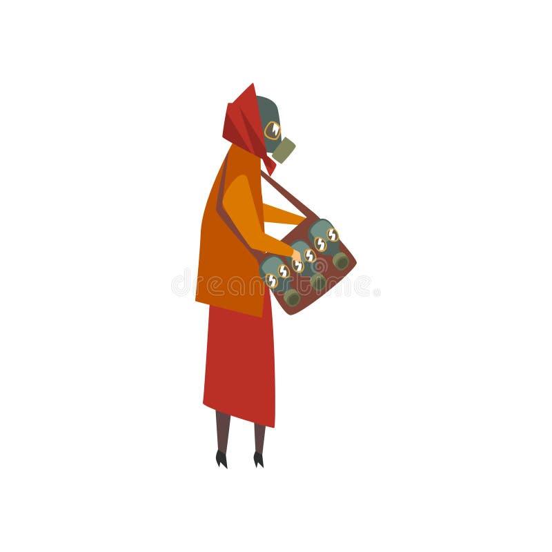 Женщина нося защитную маску противогаза идя в город, страдание людей от промышленной иллюстрации вектора смога бесплатная иллюстрация