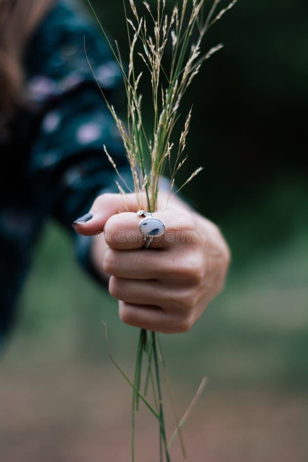 Женщина нося кольцо стоковое изображение